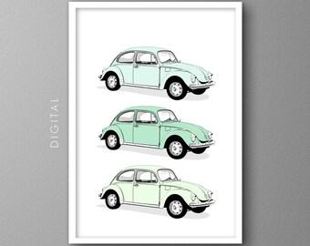 VW Bug Print Volkswagen Beetle Seafoam Green Vintage Classic Car Wall Art Kids Wall Decor Nostalgic Printable Beachy Summer Poster Download
