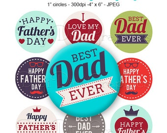 SALE - Father's Day Sayings Bottle Cap Hipster Digital Art Collage Set 1 Inch Circle 4x6 - Instant Download - BC1174