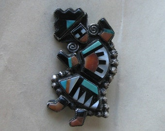 Zuni Rainbow Man Turquoise Sterling Brooch Coral Shell Silver Inlay Vintage Southwest Pin 925