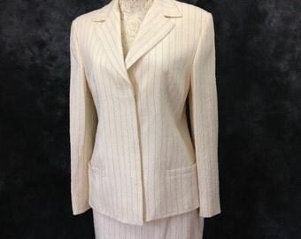 Vintage 1990's Gianni Versace Couture cream pinstripe skirt suit summer suit