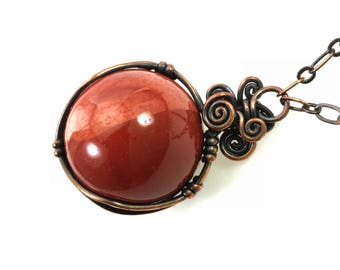Mookaite Jasper Sphere Pendant Necklace - Natural Red Gemstone Crystal Ball Wire-Wrapped, Healing Hypoallergenic Nickel Free Copper
