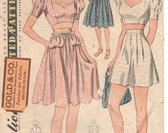 Simplicity 3392 1940s Misses Midriff TOP Shorts SKIRT Sun BONNeT Pattern  Womens Vintage Sewing Pattern Size 14 Bust 32 FF