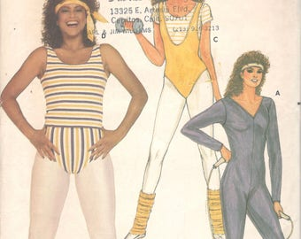 Butterick 6319 1980s Misses Full Bodysuit Top and Briefs Pattern JAYNE KENNEDY Vintage Sewing Pattern Size Sm Bust 31 32 or Xl Or Medium