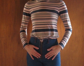 PINK & NAVY STRIPED turtleneck, xs