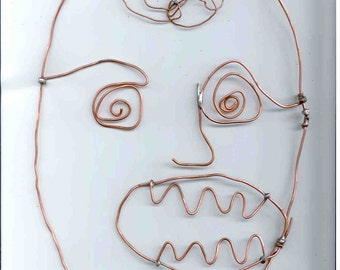 Mr. Brain Man Copper Wire Outsider Art by Washburn Art