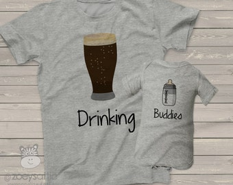 Funny dad and baby drinking buddies tshirt and bodysuit gift set - great holiday or Father's Day shirts and gifts DBDBS