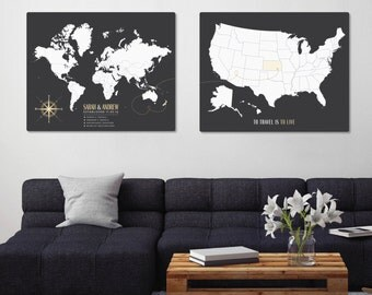Two map set, Travel Map Set, World Map Set, Personalized Family Map Set, custom map set, living room decor ideas // H-I21-2PS AA4