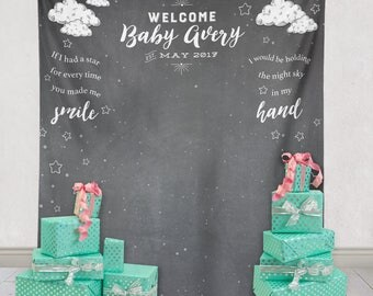 Baby Shower Backdrop, Shower Backdrop, Baby Shower Decor and Decorations, Shower Baby Backdrop, New Baby Party Decorations/ N-T01-TP AA3