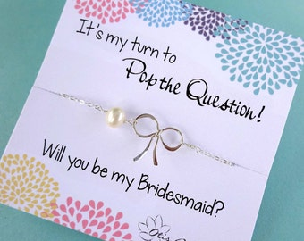 Dainty Bow Necklace, Bridesmaid gift idea, Wedding jewelry, Otis B, Etsy, Sterling silver necklace for bridal party, Be my bridesmaid