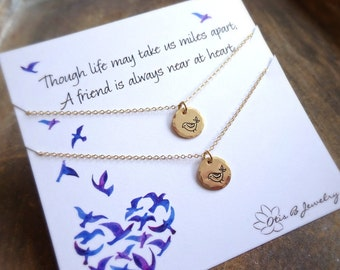 Matching friendship necklaces, best friends, birds of a feather, two necklace gift set, Otis B, Hand stamped, sterling silver, handmade