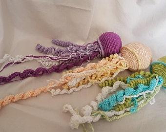 Three Crochet JELLYFISH set, amigurumi toy, teether jellyfish, nautical baby shower, sea monster, crochet fish, ocean, gift for baby girl