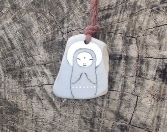 Soft Blue Beach Pottery Jizo Bodhisattva Necklace