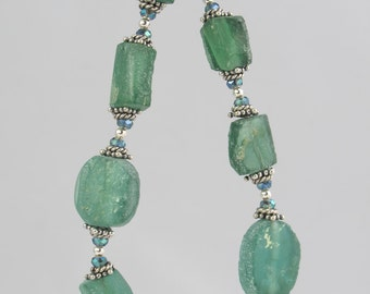 teal green ancient Roman glass and crystal sterling silver bracelet 7.5 inch FREE SHIPPING OOAK