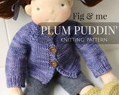 PDF knitting pattern, Doll Clothing Patterns, DIY, Waldorf Style Clothing Patterns, Plum Puddin' doll cardigan by Fig&me