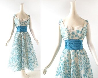 Vintage 1950s Dress | Leaf Swirl | 50s Chiffon Dress | Fred Perlberg | XS