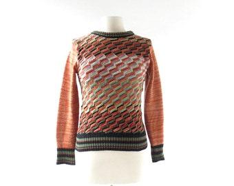 Vintage 70s Sweater | Zig Zag | 70s Top | XS