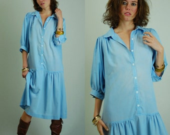 Chambray Dress Vintage 80s Light Blue Oversized Slouchy Drop Waist Chambray Dress (s m l)