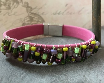Beaded Pink Suede Like Leather Bracelet - with Purple and Green