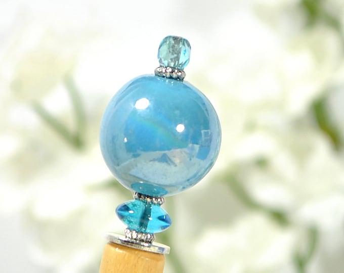 "Blue Beaded Hair Stick 5.5 in Wood Hairstick Japanese Hair Pin Hair Chopstick Handmade Bun Pin - ""Clearwater"""