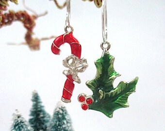 Holiday Earrings, Christmas Gift Idea, Mismatched Dangle, Green Holly Leaf, Red Candy Cane, Silver Hoop Ear Wire, Present for Women E456