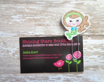 Fun Planner Clips - Lime Green And Turquoise Blue Summer Mermaid With Brown Hair Paper Clip Or Bookmark - Planner Inspiration And Goodies