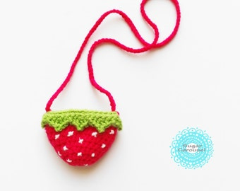 Baby Strawberry crossbody shoulder bag - crochet knit colorful cute kawaii sweet kid little girl play small mini tiny purse pouch photo prop