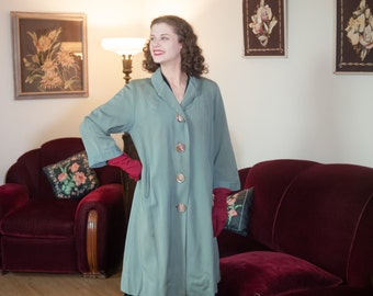 Vintage 1940s Coat - Dreamy Seafoam Sage Green Wool Late 40s Overcoat with Beautiful Trapunto Embroidery