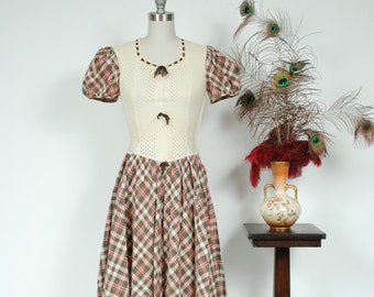 Vintage 1930s Dress - Darling Late 30s Brown Plaid Cotton and Ivory Eyelet with Puffed Sleeves and Velvet Ribbon - Sixpence