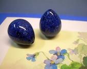 Glittering Cobalt Blue Vintage Lucite Beads Pear Shape Silver Sparkles Charcoal Accents 2 Teardrop