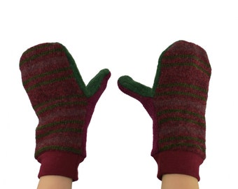 Kids Mittens in Dark Burgundy and Forest Green Stripes - Recycled Wool Sweaters