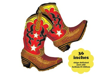 "36"" Balloon Cowboy Boots - Western Party Decorations Cowboy Birthday Decor Cowboy Baby Shower Balloon Red Boots Large Foil Mylar Balloon"