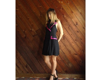 T Back Hot Pink and Black Tuxedo Mini Dress Vintage 80s 90s - SMALL S