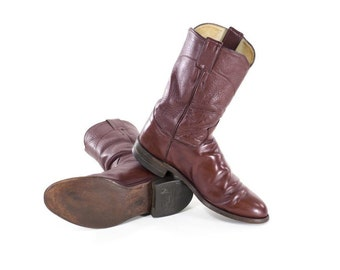 Justin Cowboy Boots Burgundy Leather Western Boots Mid Calf Flat Boots Womens Size 10.5 / Mens 9