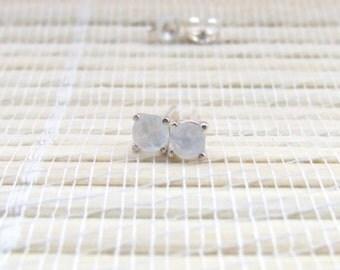 Moonstone Stud Earrings Sterling Silver June Birthstone 4mm
