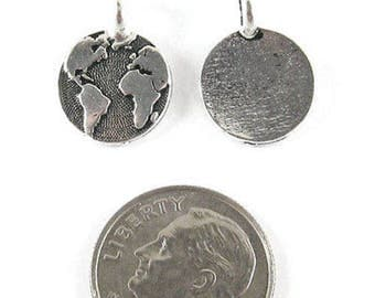 TierraCast Pewter Charms-SILVER ROUND EARTH 12x16mm (2)
