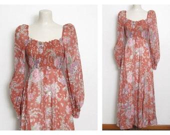 1970s Boho Maxi Dress / Floral Print w/ Empire Waist & Long Sleeves / 70s Vintage Jody T of California Bohemian Festival Dress