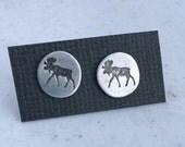 Moose studs, sterling silver