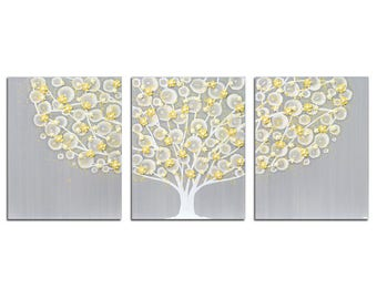 Gray and Yellow Nursery Canvas Wall Art - Textured Tree Painting on Triptych Canvas - Large 50x20