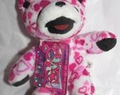 "Liquid Blue Lil Love Bear Cub White with Hearts Deadhead Jerry Garcia  Bean Bear Teddy Bear 5"" Groovy Gift"
