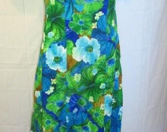 Vintage Hawaiian Maxi Dress Luau Dress Made In Hawaii Mia Designs Garment Factory To You Barkcloth Dress Blue Green Floral Boho Maxi Size 6