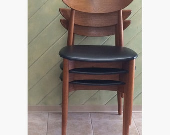 Teak Harry Ostergaard Moreddi Randers Mobelfabrik Chair Danish Modern Cross Brace Stacking