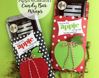 KIT Apple of my Eye Candy Bar Wraps / Teacher Appreciation/ Hershey Chocolate Bar / Gifts for Teacher / End of the year Gift /Thanks Teacher