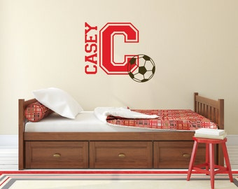 Soccer Ball Decal, Name Wall Decals, Soccer Decor, Personalized Wall Decals,  Sports