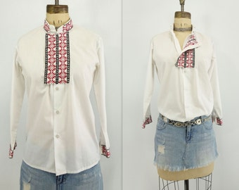 Ethnic White Blouse Embroidered Shirt Traditional Blouse 70s Russian Blouse Cossack Shirt Slavic Gypsy Blouse Cossack Blouse women xs