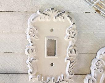 Light Switch Cover, Lighting, Light Switch Cover Plate, Creamy White, Ornate Decor, Style 130