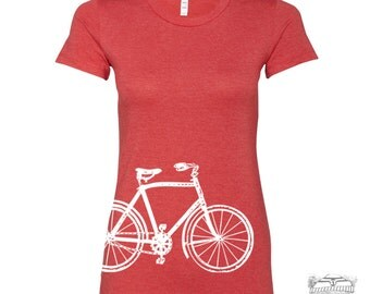 Womens Vintage  BIKE T Shirt -hand screen printed s m l xl xxl (+ Colors)