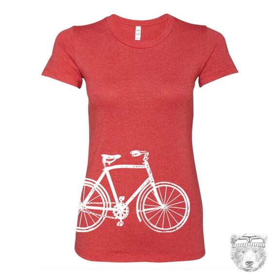 Womens Vintage  BIKE T Shirt -hand screen printed s m l xl xxl (+ Colors)