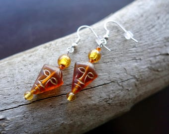 Tribal Mask Glass Bead Earrings | Brown Dangle with Silver Accents