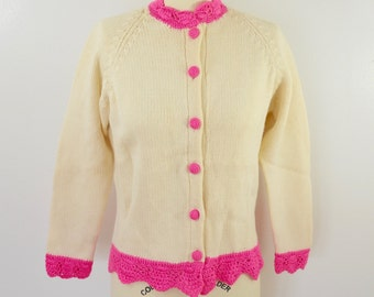 Vintage Ladies CARDIGAN SWEATER hand made pink and white