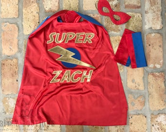 Personalized Super Hero Cape & Mask Set